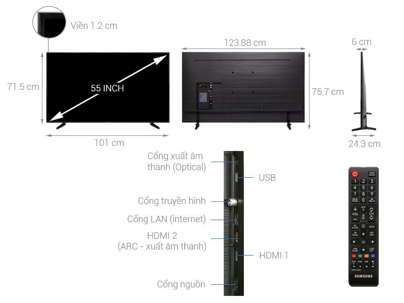 Thiết kế đơn giản, sang trọng trên Smart Tivi Samsung 4K 55 inch UA55NU7090