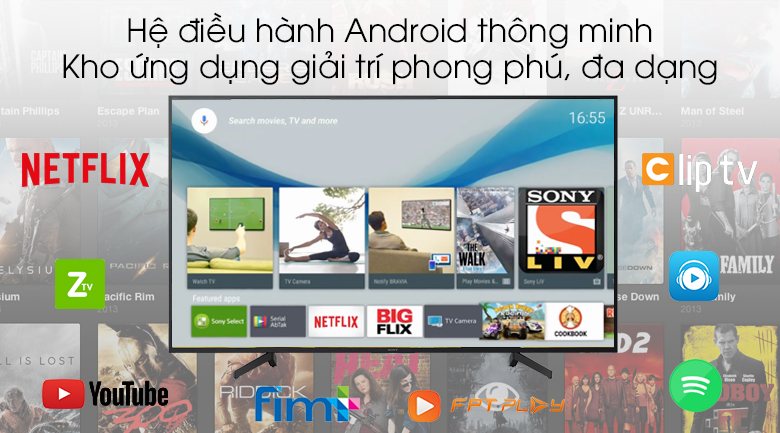 Android Tivi Sony 4K 43 inch KD-49X8000G - Hệ điều hành Android