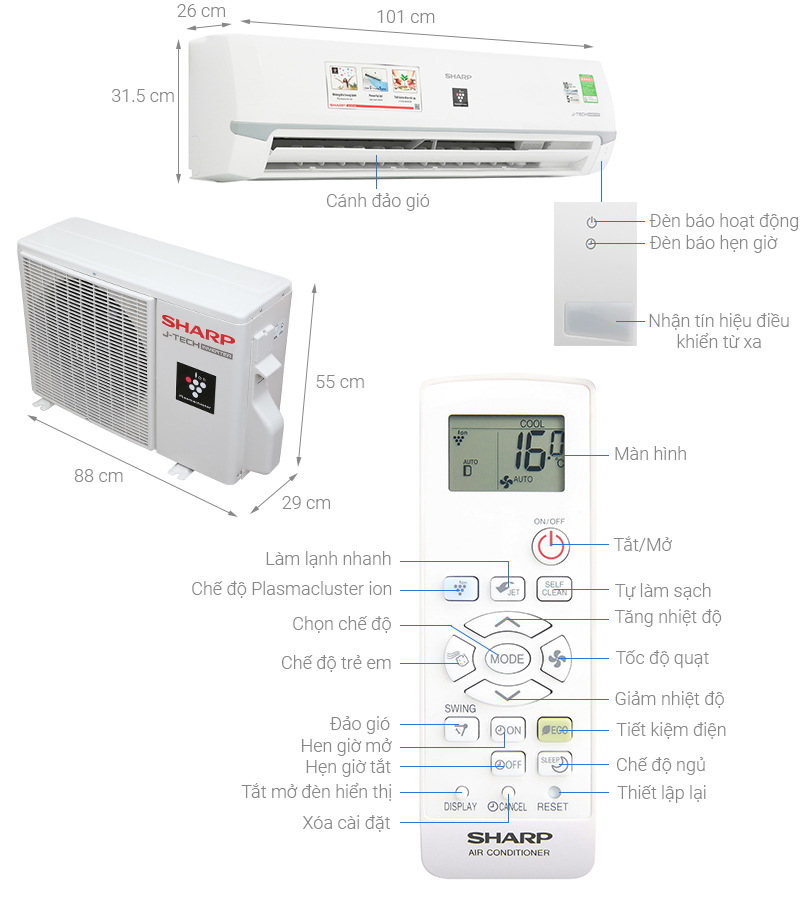 Điều hòa Sharp Inverter 2 HP AH-XP18WMW