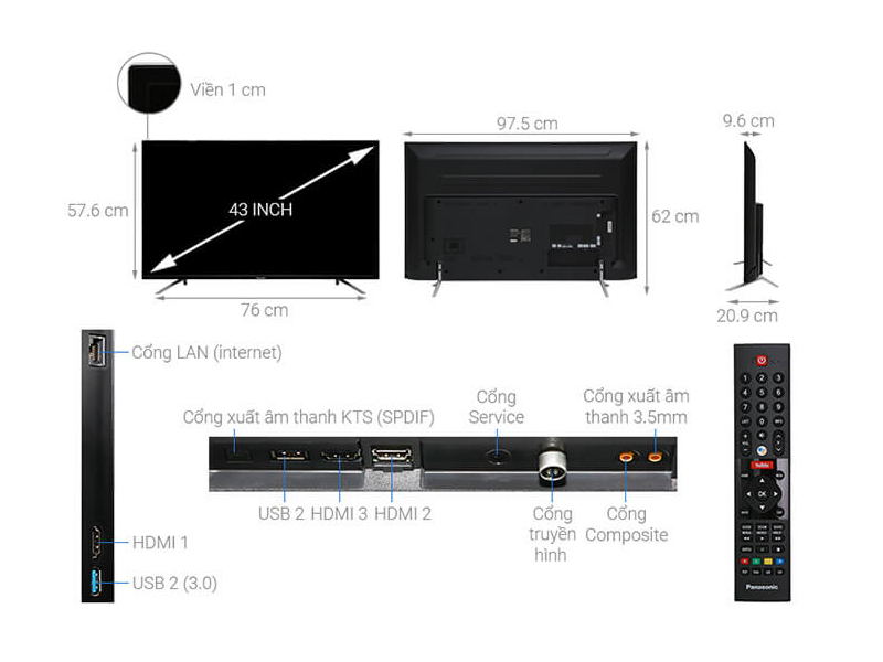 Smart Tivi Panasonic 4K 43 inch 43GX650