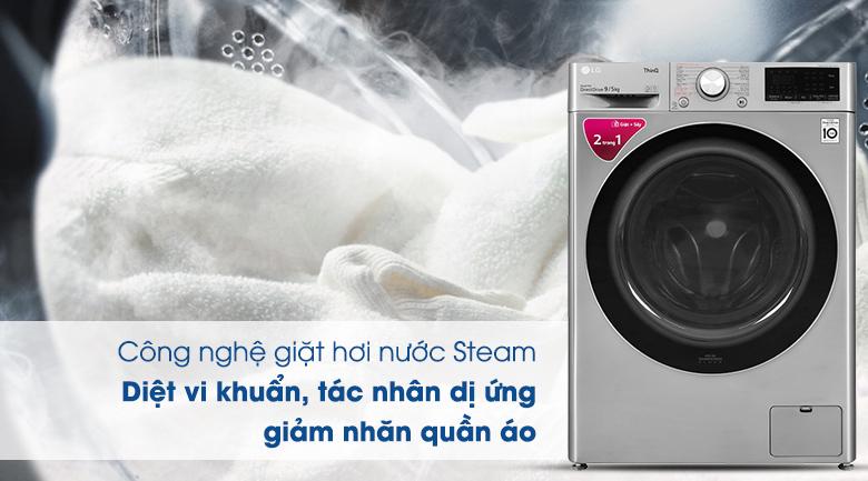 Máy giặt sấy LG Inverter 9 kg FV1409G4V - Công ngệ giặt hơi nước Steam
